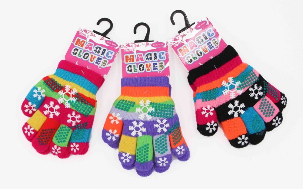 Girls funky printed gloves